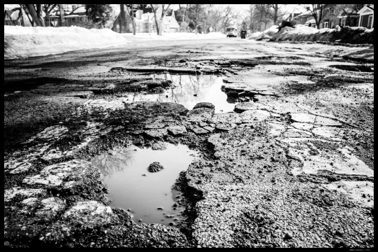 Potholes on a neighborhood street